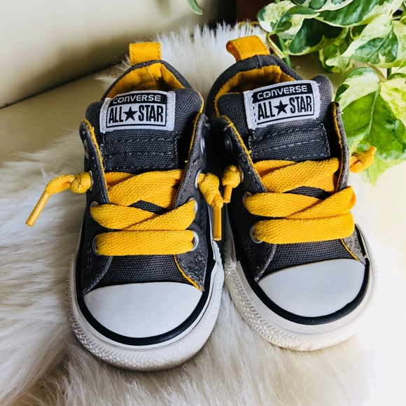Converse Shoes Gray Yellow Baby Sneakers Poshmark